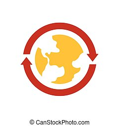 Earth Icon  vector yellow and red color