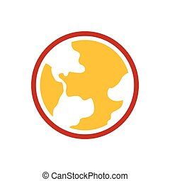 Earth Icon  yellow and red color