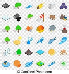 Earth icons set, isometric style