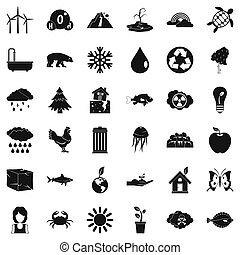 Earth icons set, simple style