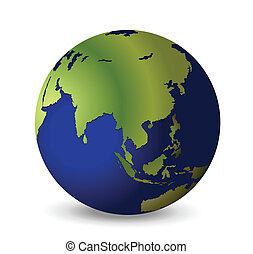 Earth - illustration of the globe, Asia