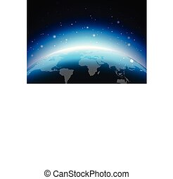 Earth illustration with blue planet. World map or globe background concept. Vector design for banner, poster or greeting card.