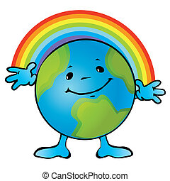 Earth. - Earth with a smile and rainbows. Vector...