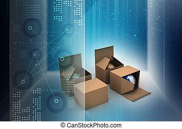 Earth in a cardboard box