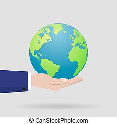 Earth in a hand with a shadow. Vector illustration
