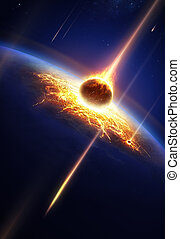 Earth in a meteor shower (Elements of this image furnished...