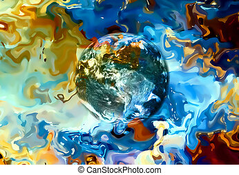 Earth in abstract background. Beautiful color background.