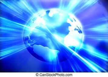 Earth In Blue Beams