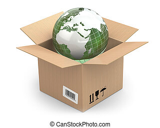 Earth in cardboard box