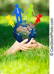 Earth in children`s hands