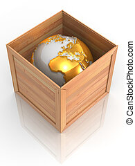 Earth in crate. 3d