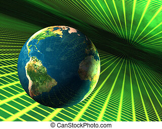 Earth in cyberspace - Planet earth travelling through...
