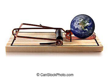 Earth in Danger - A concept image of the planet earth in...
