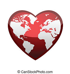 Earth in form of heart, vector illustration