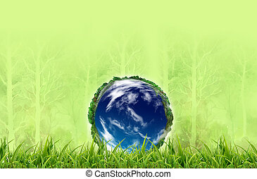 Earth in Fresh spring green grass