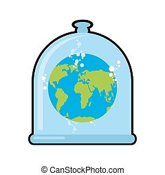 Earth in Glass bell. Conservation and protection of nature. Globe in laboratory flask. Planet study. Glass Bank Research. Experimental data analysis. Globe in liquid