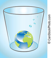 Earth in glass of water