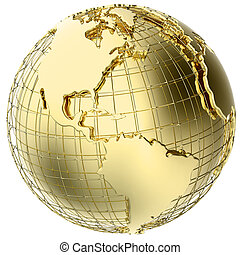 Earth in solid gold isolated on white (3d mesh map derived from NASA source map -