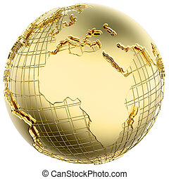Earth in Gold Metal isolated (Africa/Europe) - Earth in...
