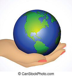 Earth in hand isolated on white. Vector