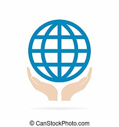 Earth in hand logo or icon