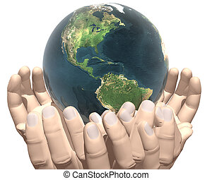 earth in hands isolated on white