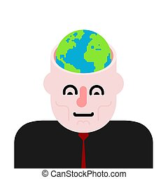 Earth in head. Open head and planet.