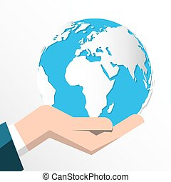 Earth in Human Hand Isolated on White Background