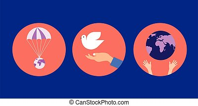 Earth in human hands, a dove symbolizing peace and ove to our homeland