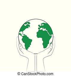 earth in human hands isolated on a white background, outline style square vector illustration