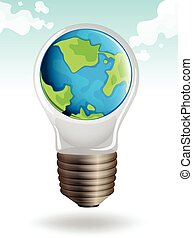 Earth in lightbulb on sky background