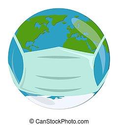 Earth in mask. Coronavirus. Quarantine in the World
