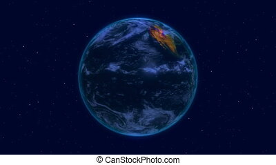 earth in night in space