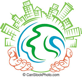 Earth in people hands
