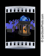 Earth in rotunda and houses. The film strip