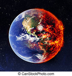 Earth in space and one part are burns. Elements of this...