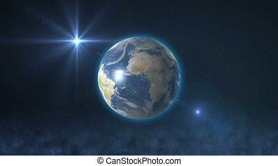 earth in space and sun ray