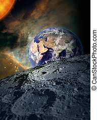 Earth in space - from the moon - Space scene with moon, sun...