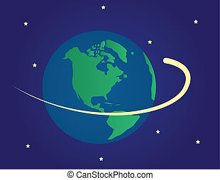 Earth in space with shooting star