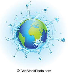 Earth in Splash of Water