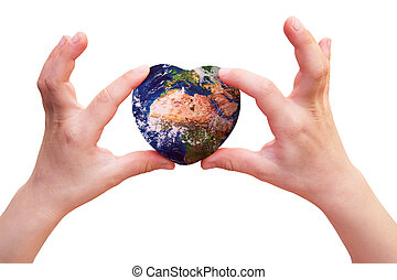 Earth in the shape of a heart in the hands