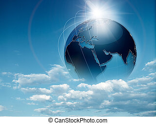 Earth in the skies, abstract travel and environmental ...
