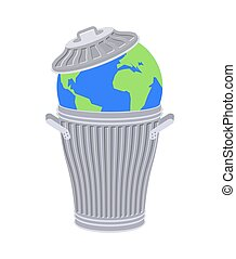 Earth in trash. Planet and garbage. scrapyard Vector...