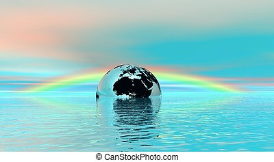 Earth in water under rainbow