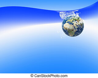 Earth in water with blue background