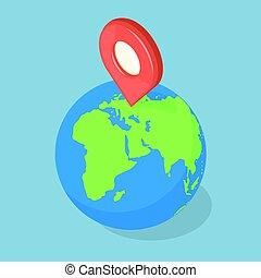 earth., indicateur, concept., planète, navigation, gps