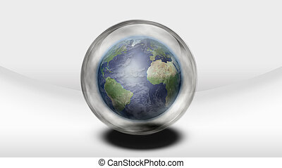 Earth inside glass sphere