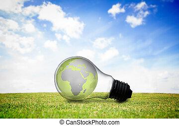 Earth inside light bulb