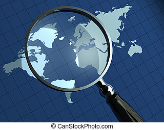 Conceptual loupe and Earth map in background - 3d render