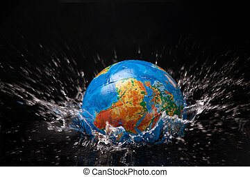 Earth is immersed in water, Isolated, Dark